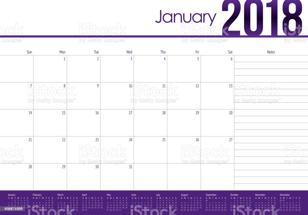January 2018 Calendar Planner Vector Illustration stock vector art ...