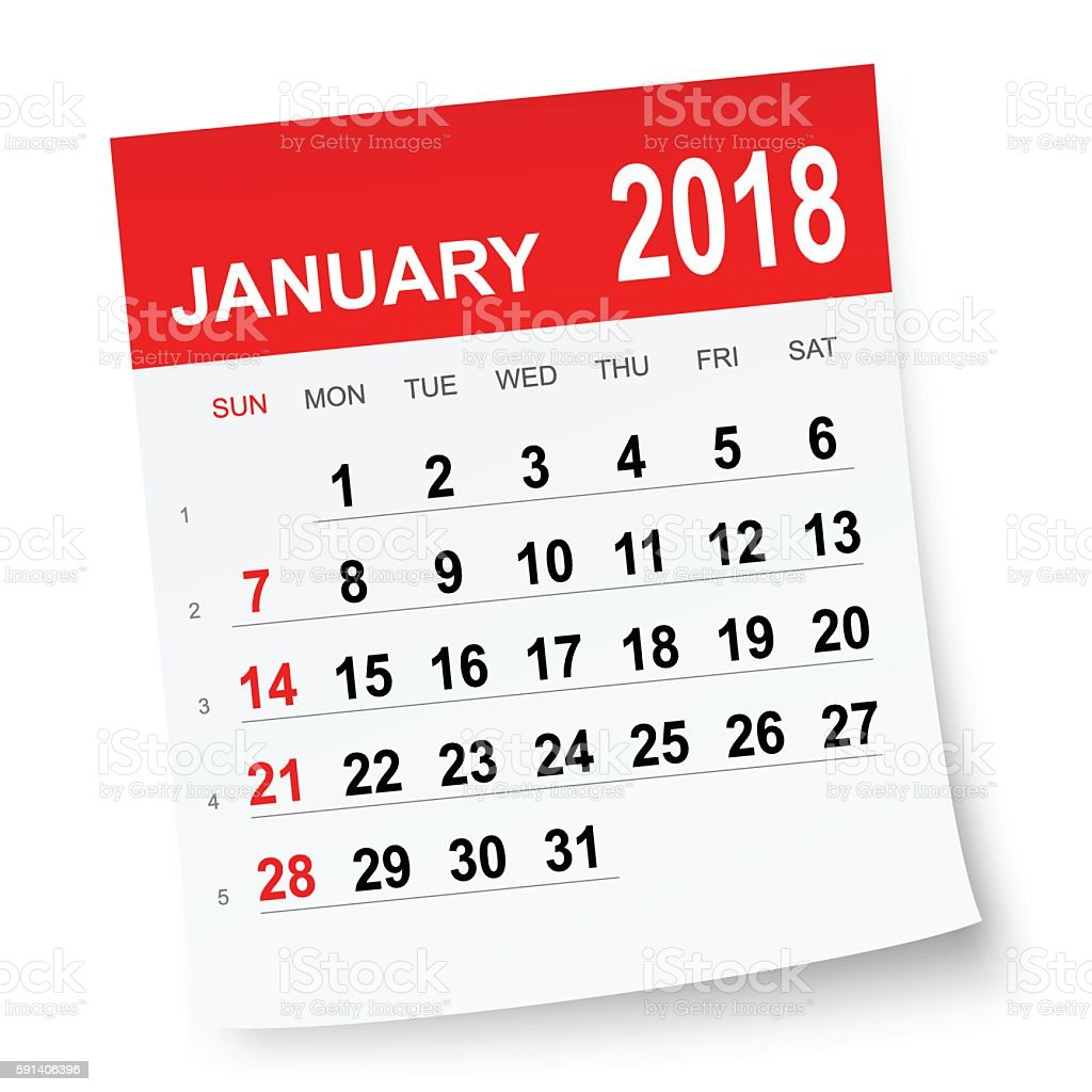 January 2018 Calendar stock vector art 591406396 | iStock