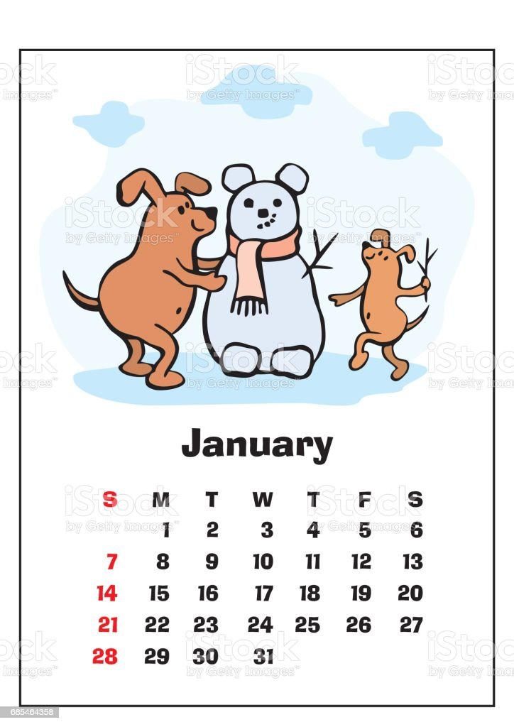 January 2018 Calendar stock vector art 685464358 | iStock