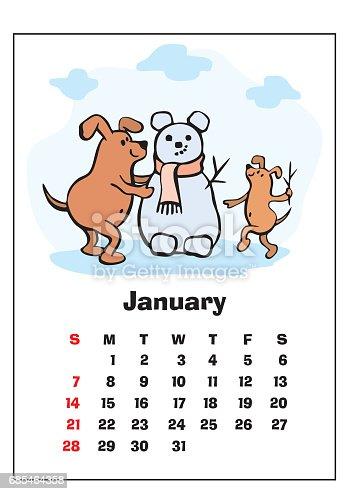 January 2018 Calendar stock vector art 685464358 | iStock