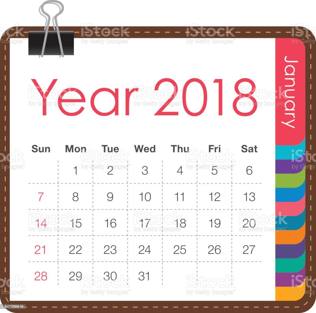 January 2018 Calendar Vector Illustration stock vector art ...