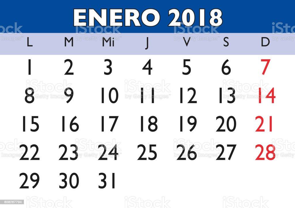 January 2018 Wall Calendar Spanish stock vector art 858267794 | iStock