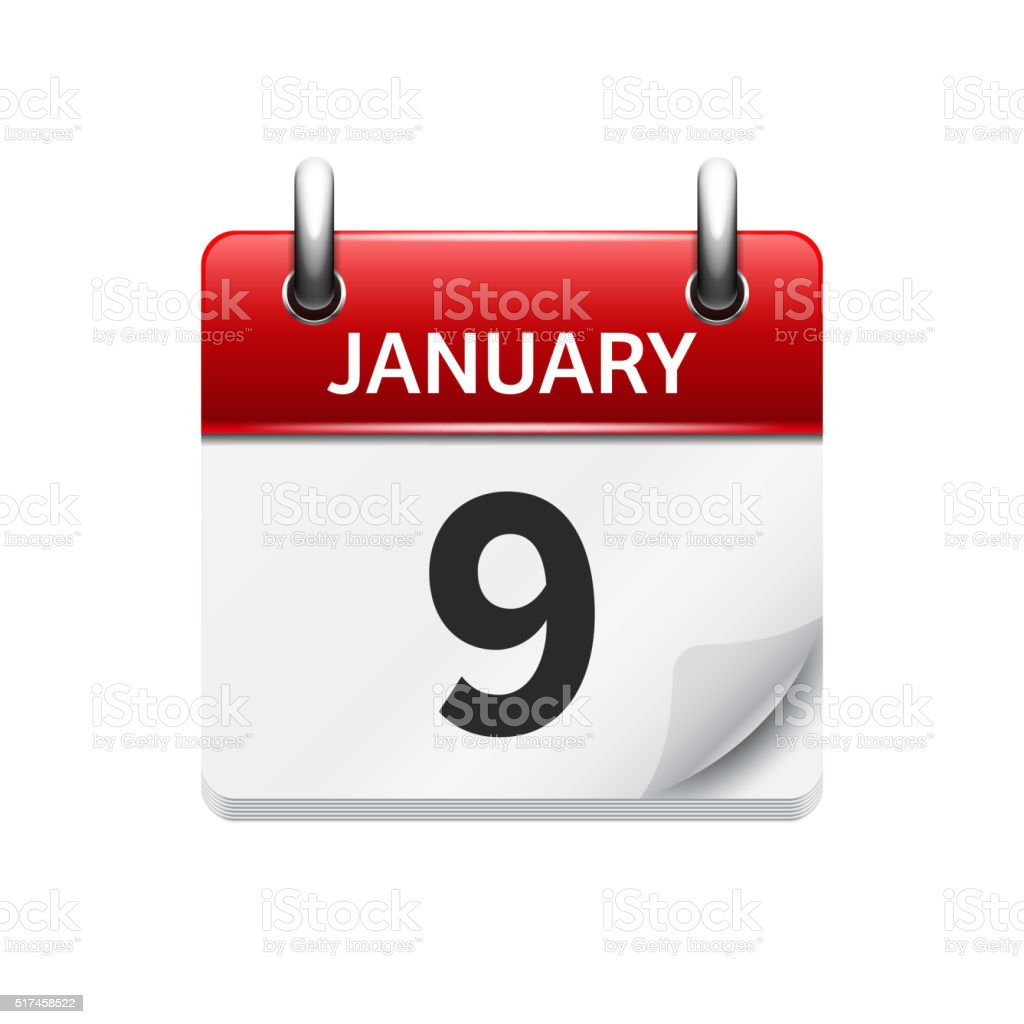January 9. Vector flat daily calendar icon. Date and time vector art illustration