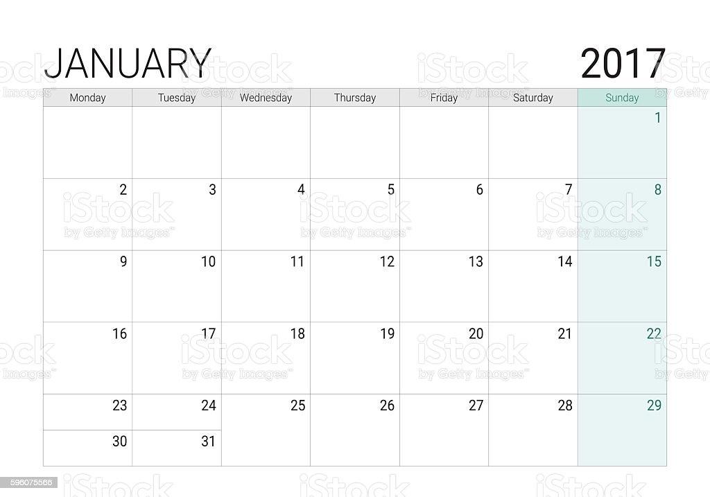 2017 January calendar (or desk planner) vector art illustration