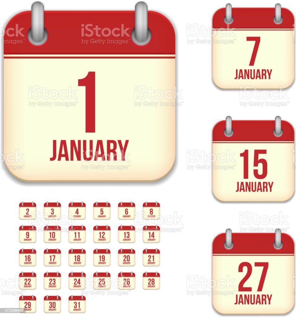 January days. Vector calendar icons royalty-free stock vector art