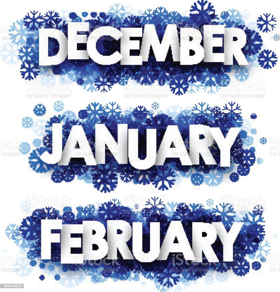 January, February, December banners. vector art illustration