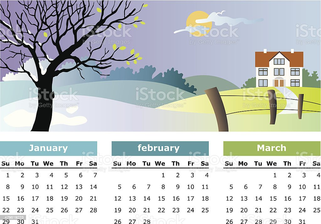 January, february, march - 2006 vector art illustration