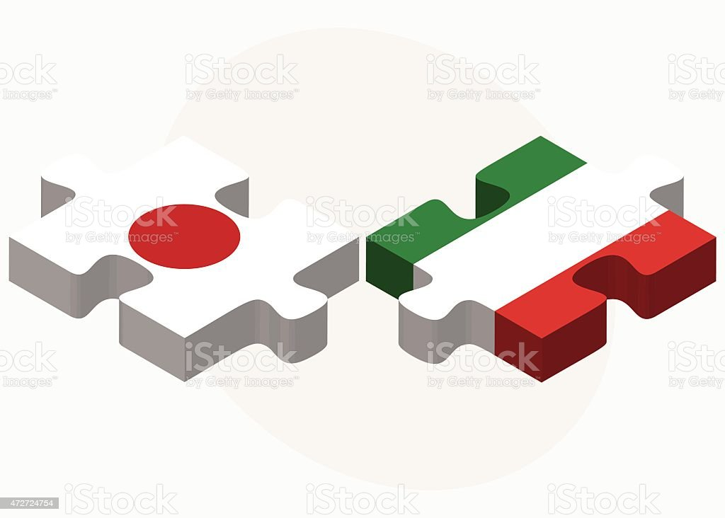 Japan and Italy Flags in puzzle vector art illustration