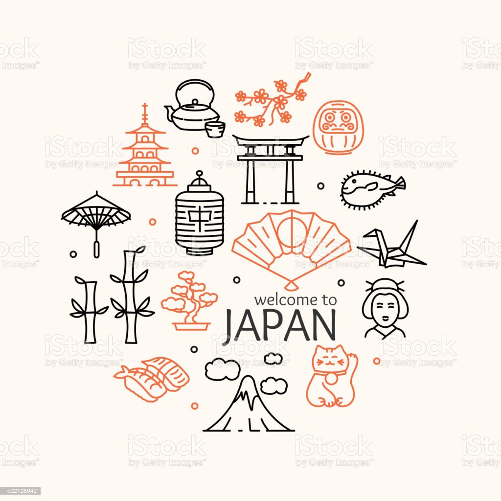 Japan Concept Travel. Vector vector art illustration