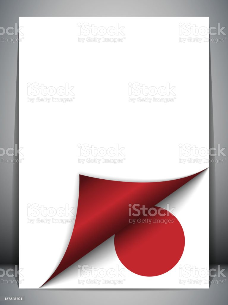 Japan Country Flag Turning Page royalty-free stock vector art