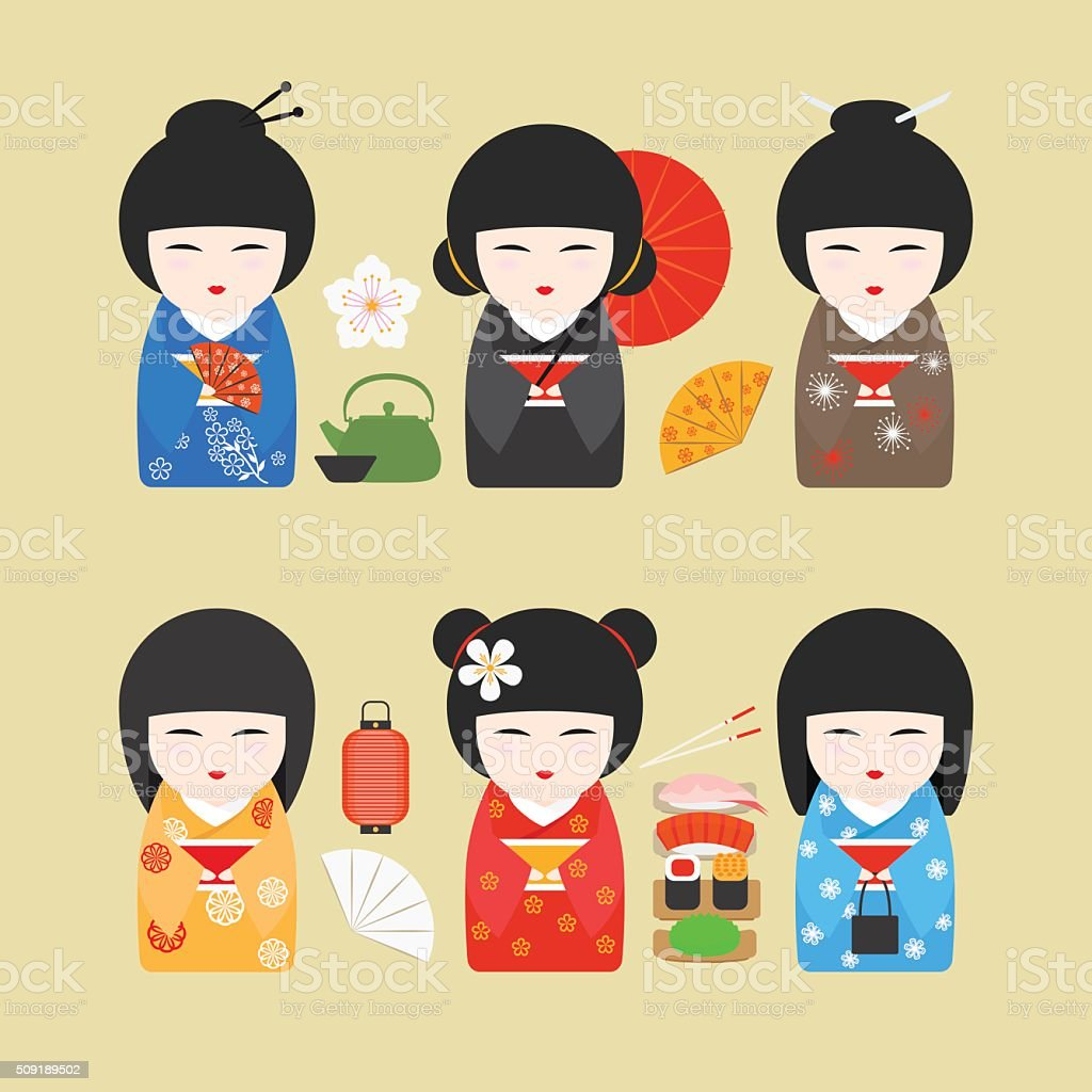 Japan dolls with fans and lanterns vector art illustration