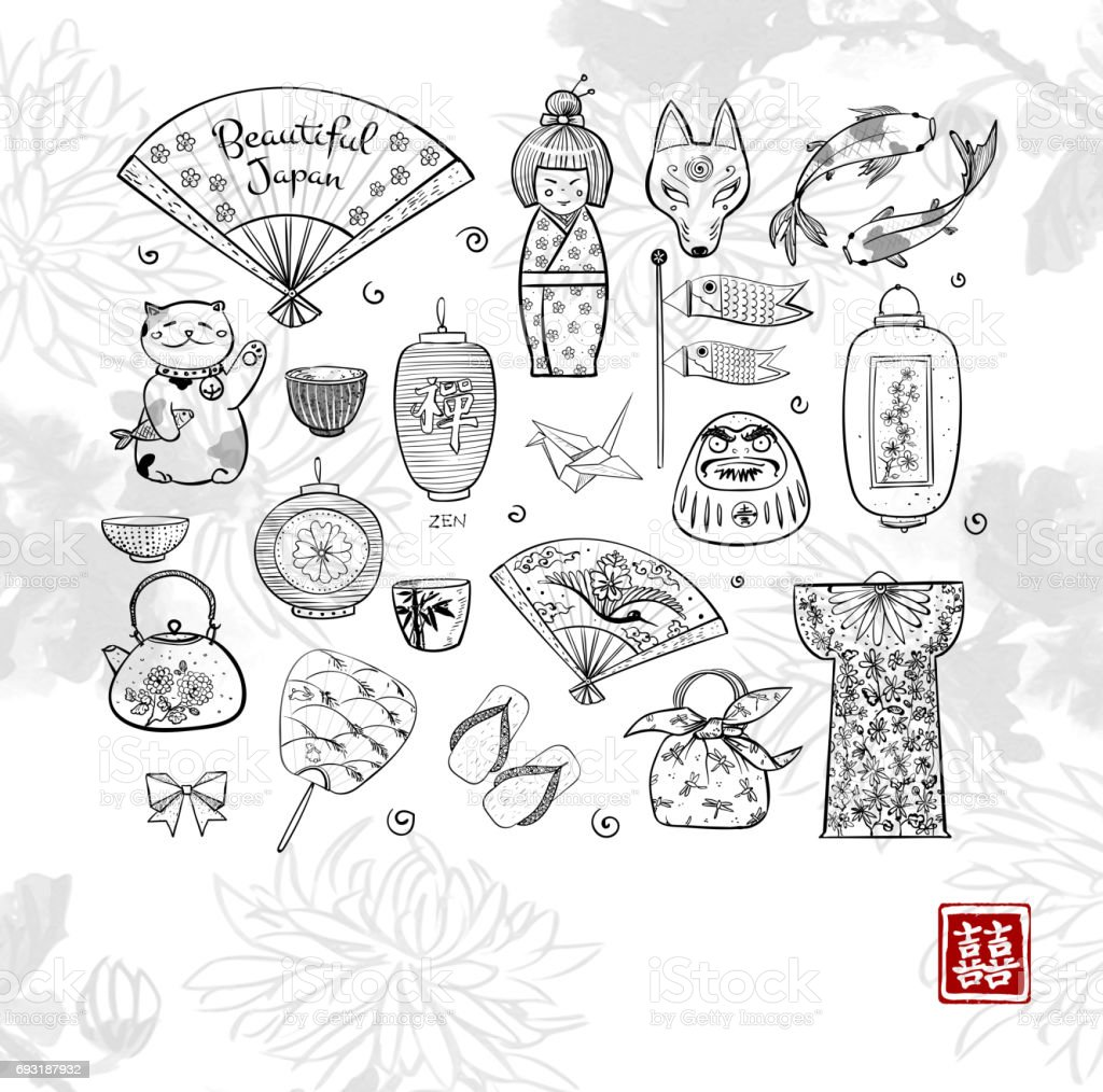 japan doodle sketch elements on white background with