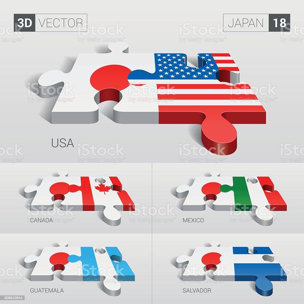 Japan Flag. 3d vector puzzle. Set 18. vector art illustration