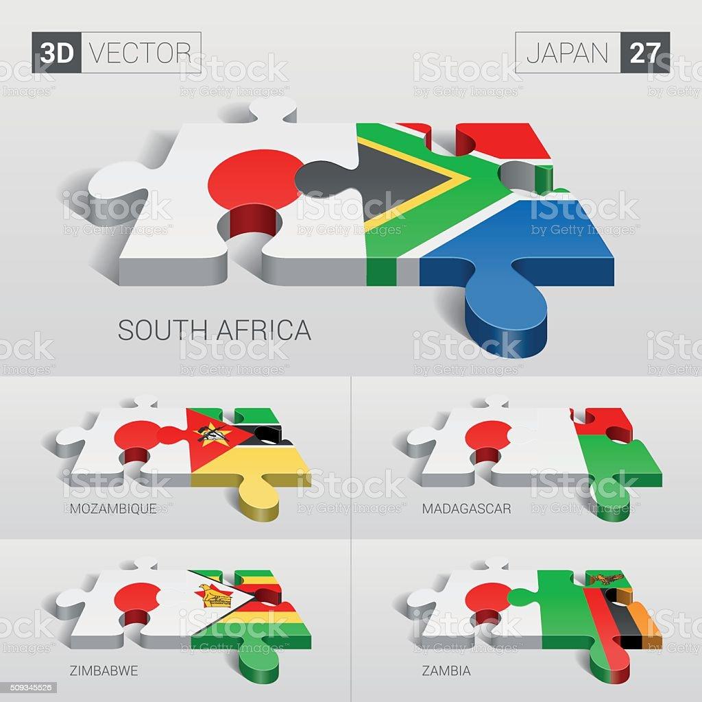 Japan Flag. 3d vector puzzle. Set 27. vector art illustration