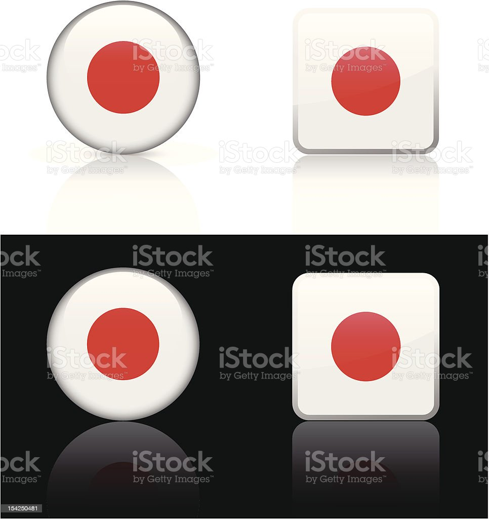 Japan Flag Button Set royalty-free stock vector art