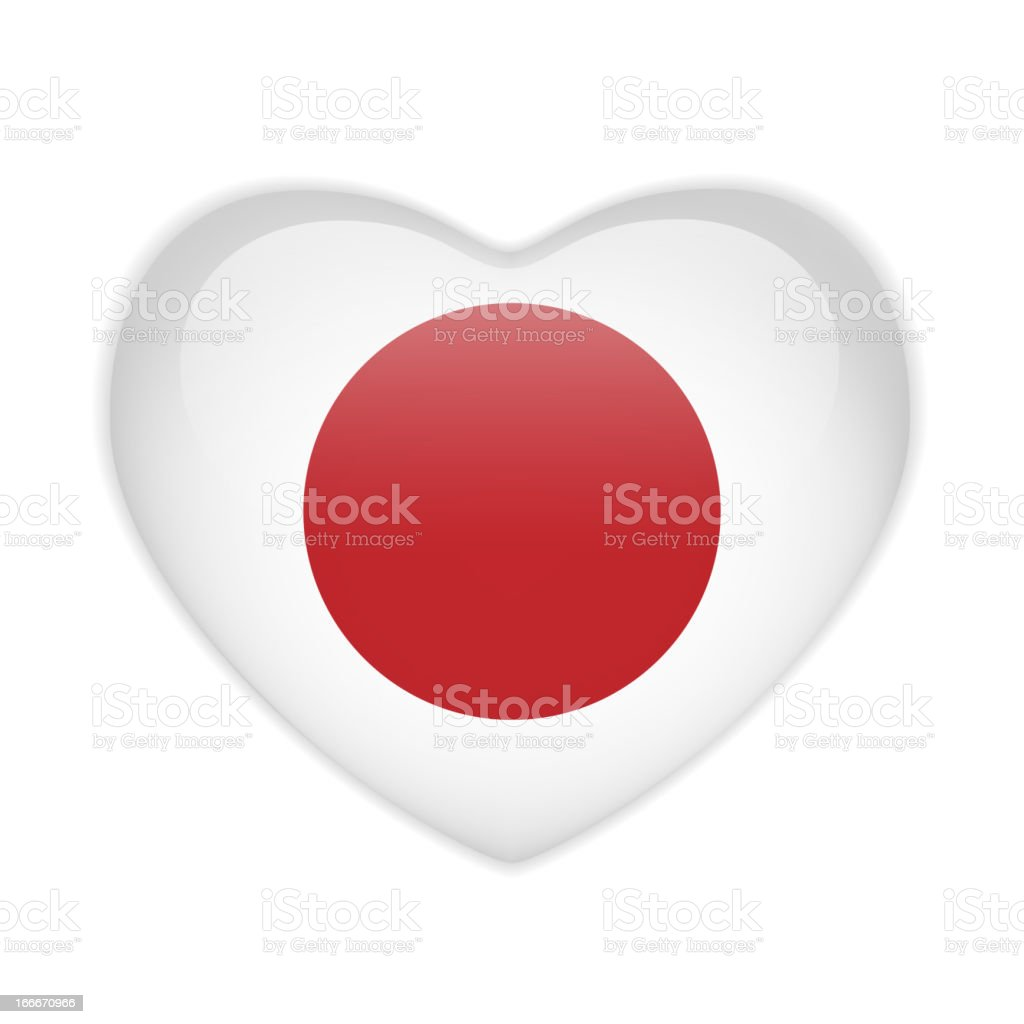 Japan Flag Heart Glossy Button royalty-free stock vector art