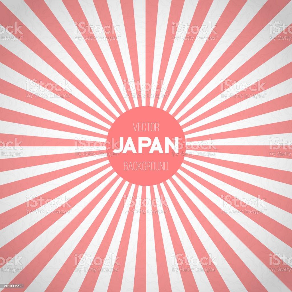 Japan Flag Sunburst Vector Background. Asian Japanese Flag with vector art illustration