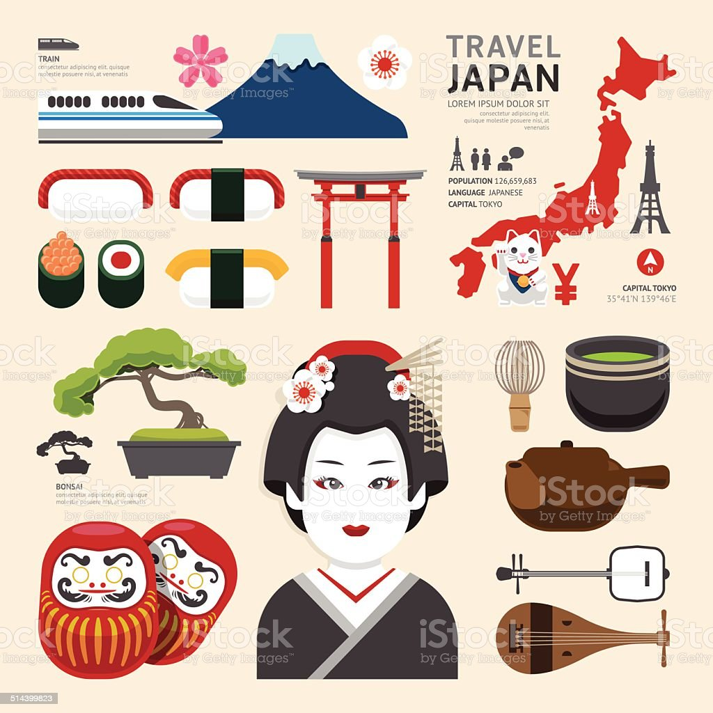 Japan Flat Icons Design Travel Concept.Vector vector art illustration