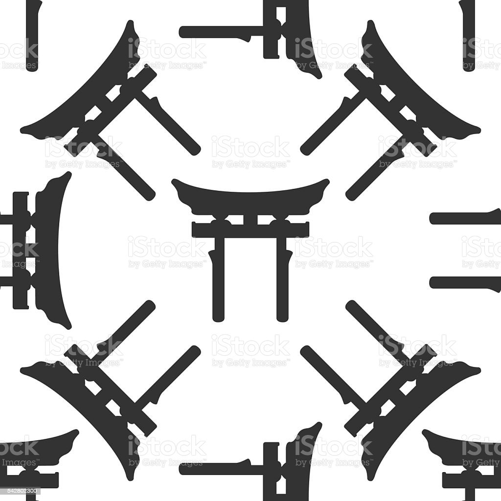 Japan Gate. Torii  icon pattern on white background. Adobe illustrator vector art illustration