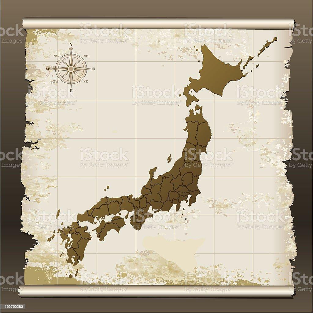 Japan grunge map on scroll royalty-free stock vector art