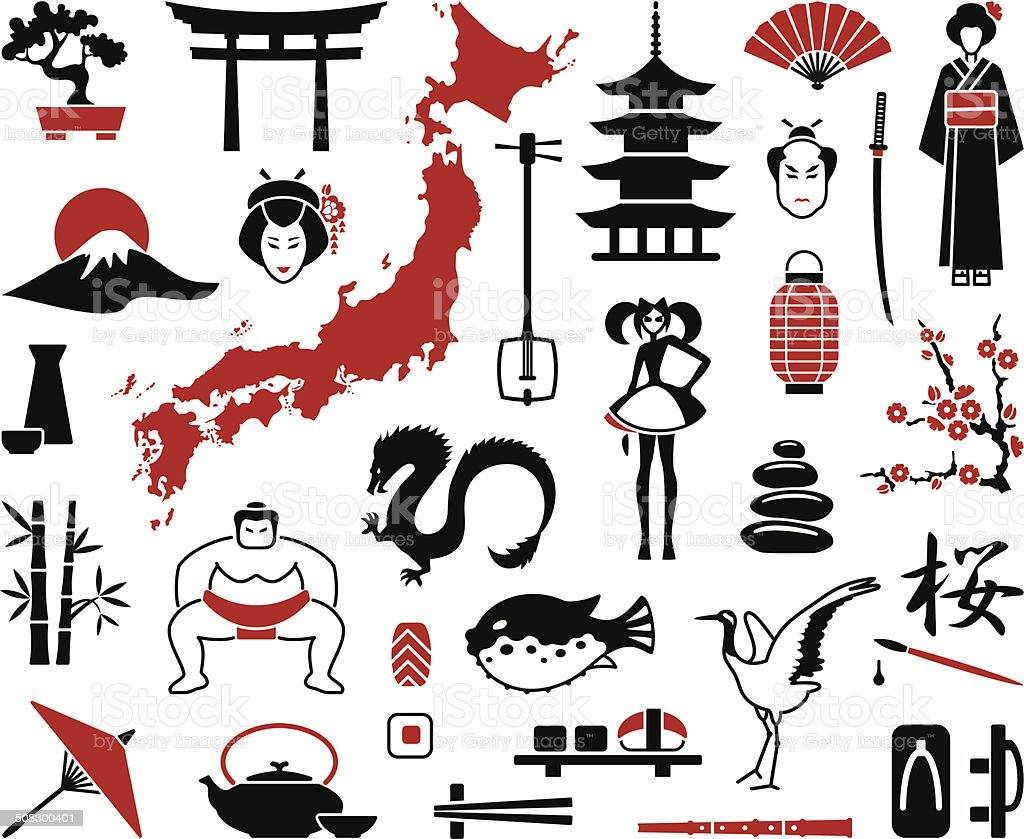 Japan icons vector art illustration