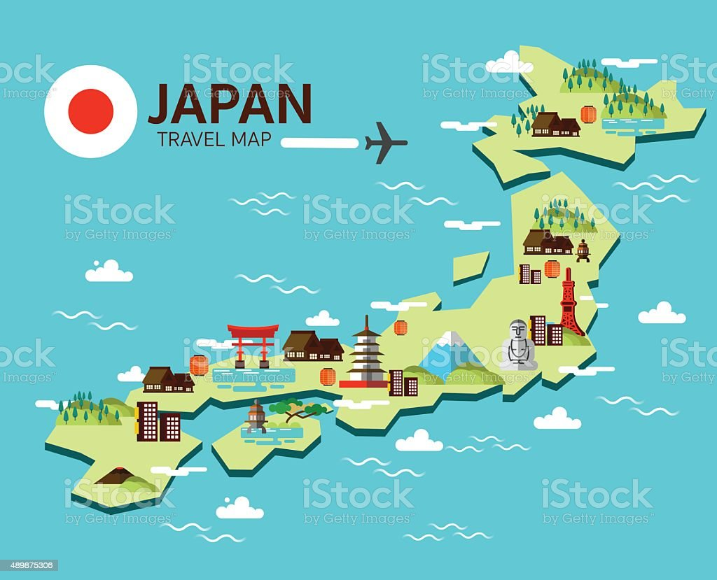 Japan landmark and travel map. vector art illustration