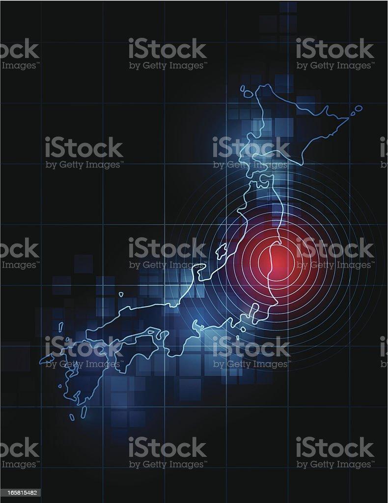Japan map - Fukushima tragedy royalty-free stock vector art