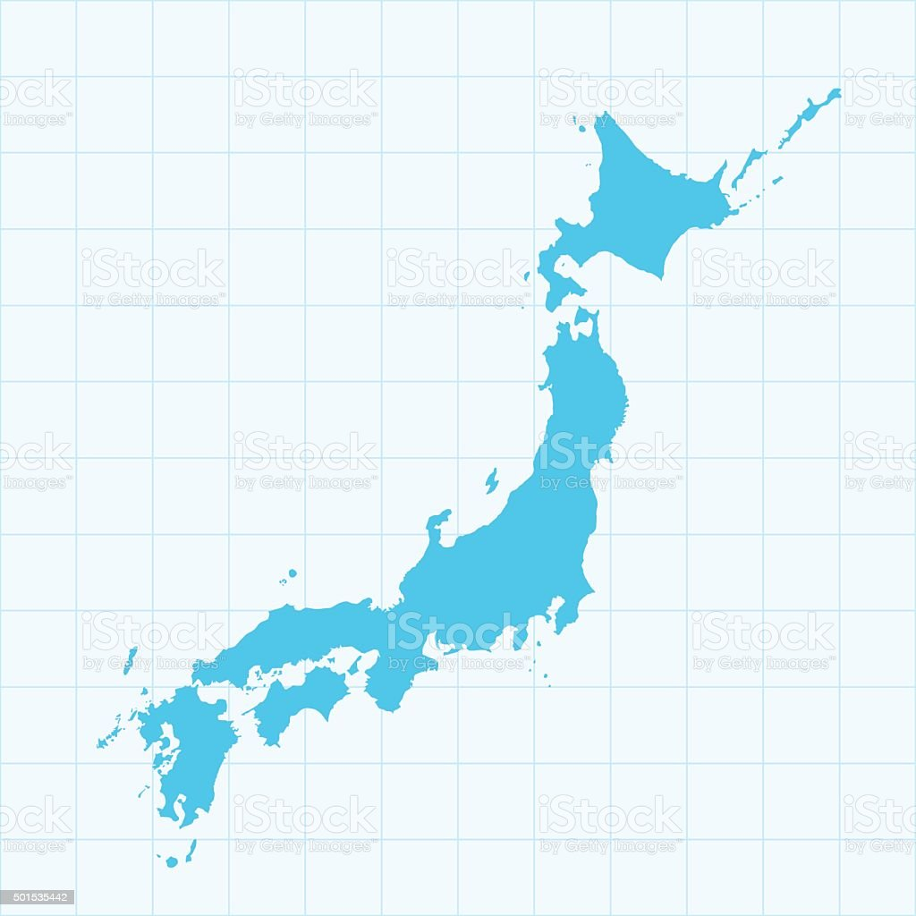 Japan map on blue background with grid vector art illustration
