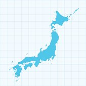 Japan map on blue background with grid