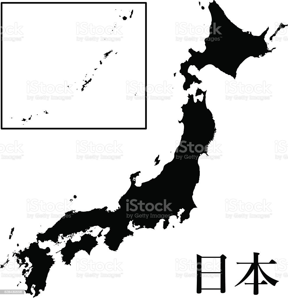 Japan Map Vector High Detailed vector art illustration