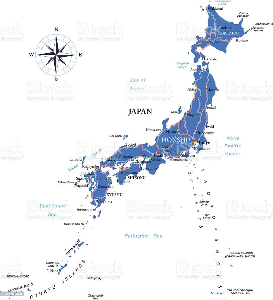 Japan map vector art illustration