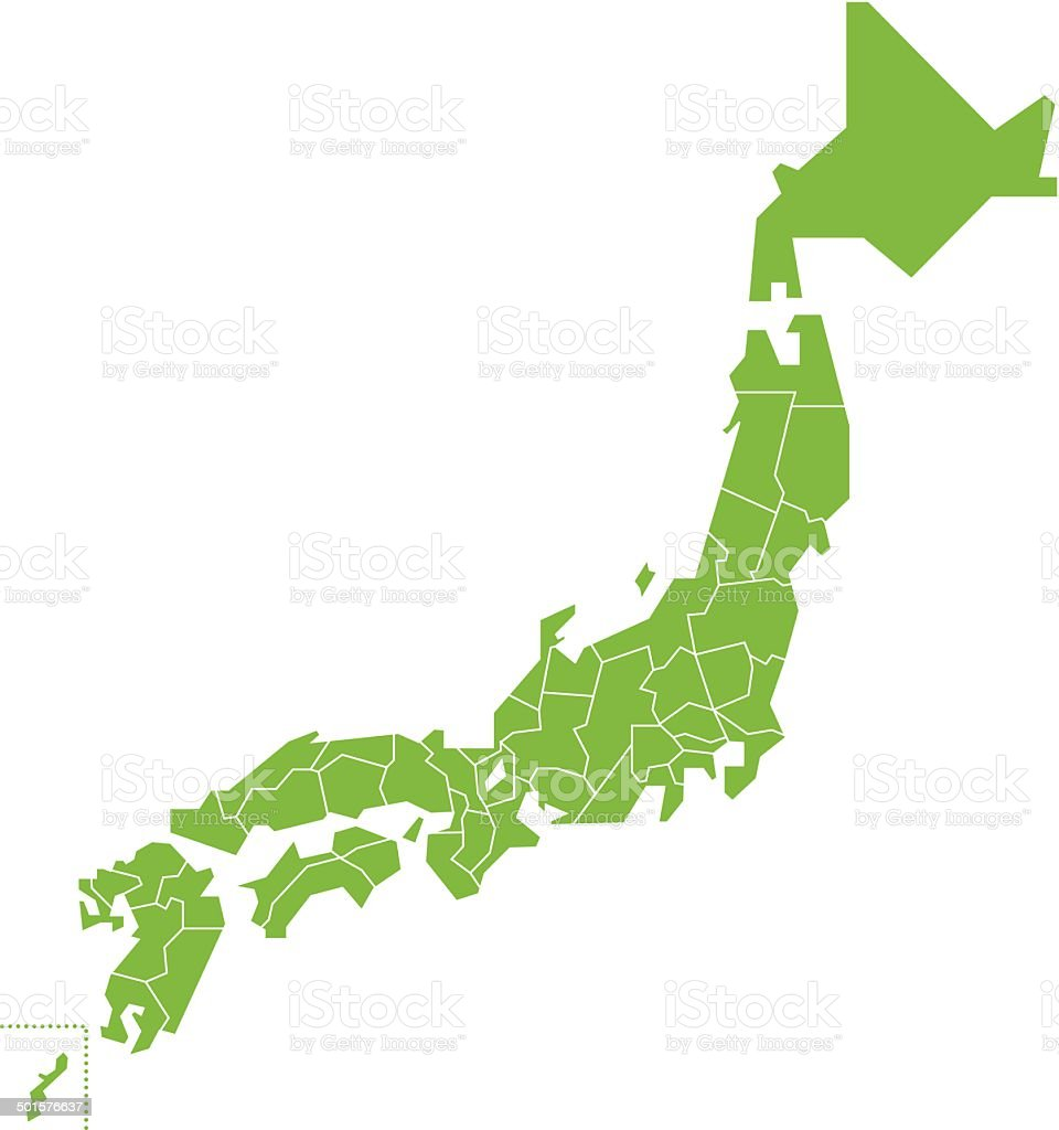 japan map  Vector vector art illustration