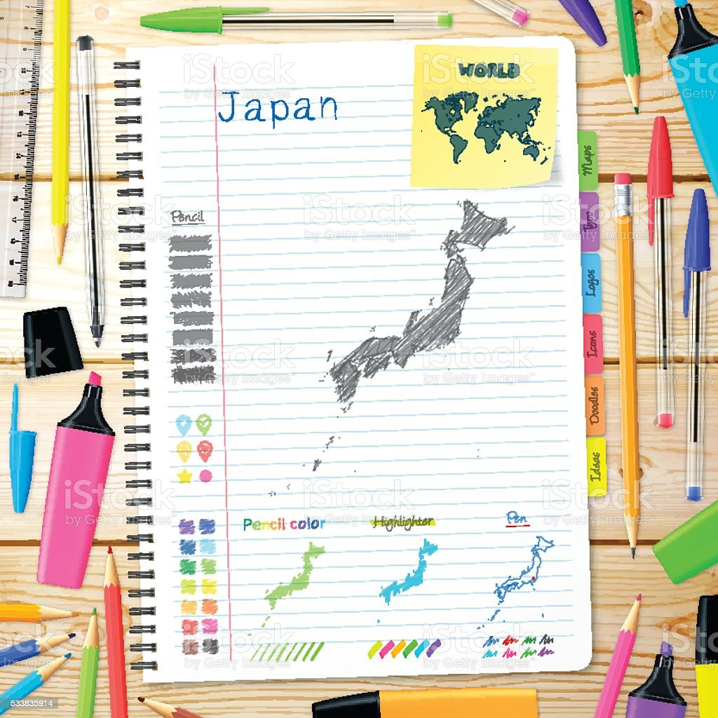 Japan maps hand drawn on notebook. Wooden Background vector art illustration