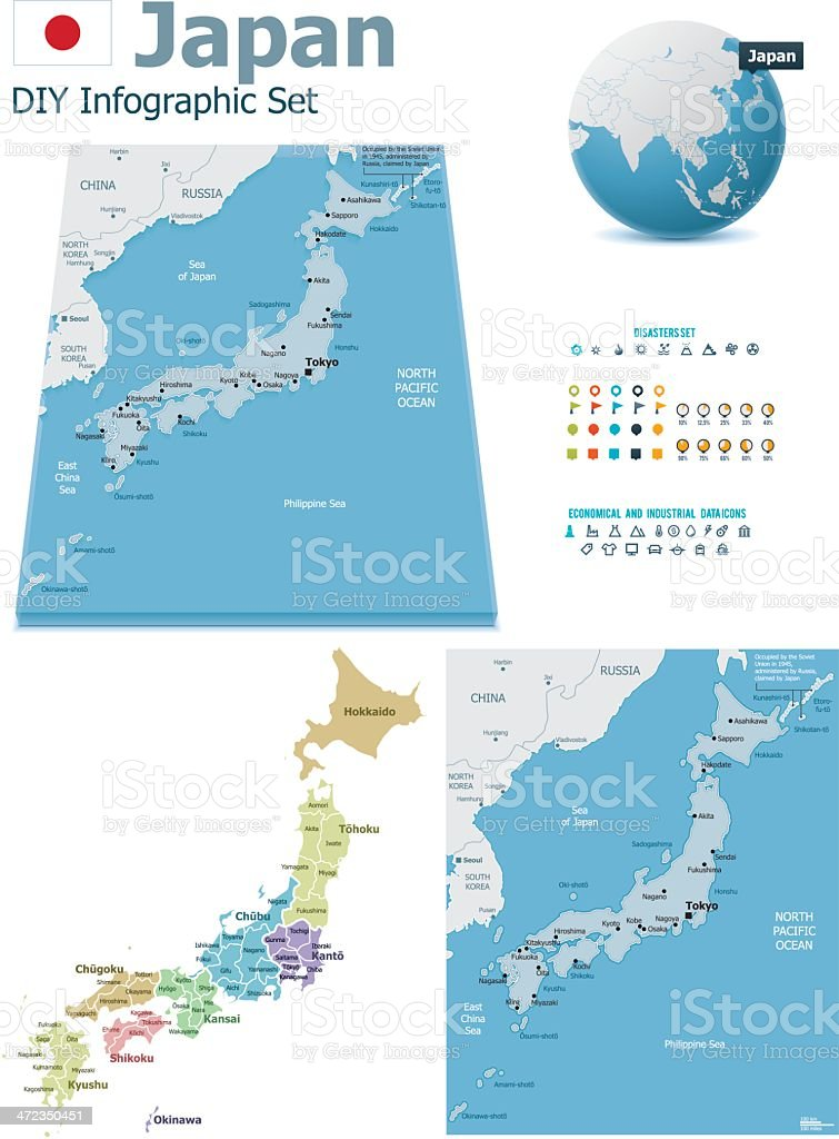 Japan maps with markers royalty-free stock vector art