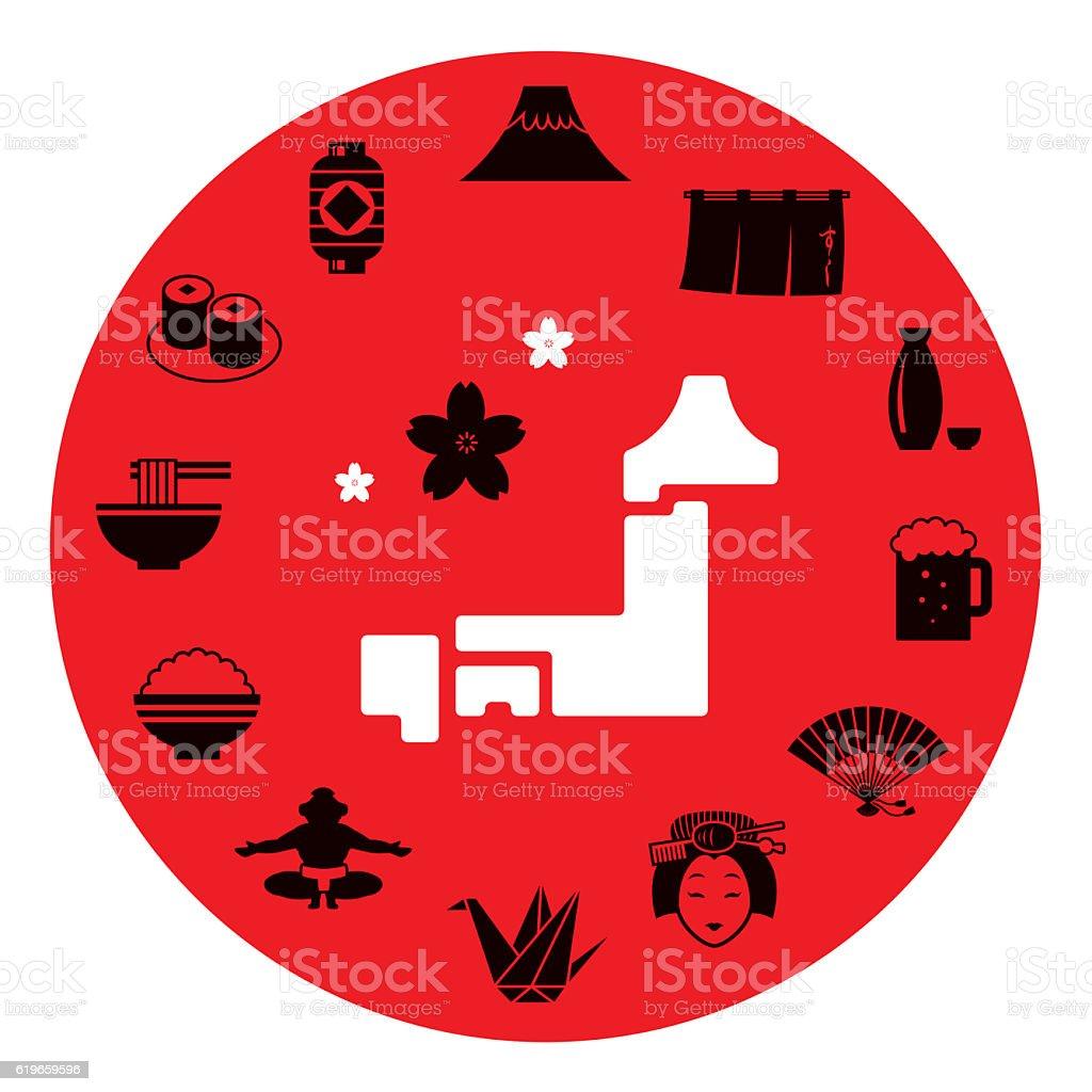 Japan motif icon set vector art illustration