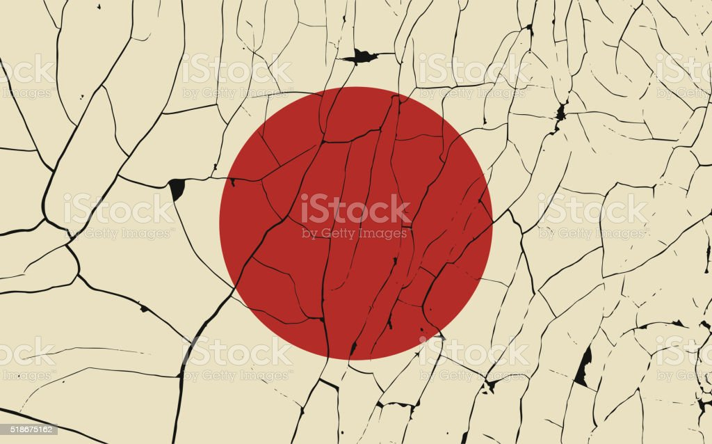 Japan old flag with fracture vector art illustration