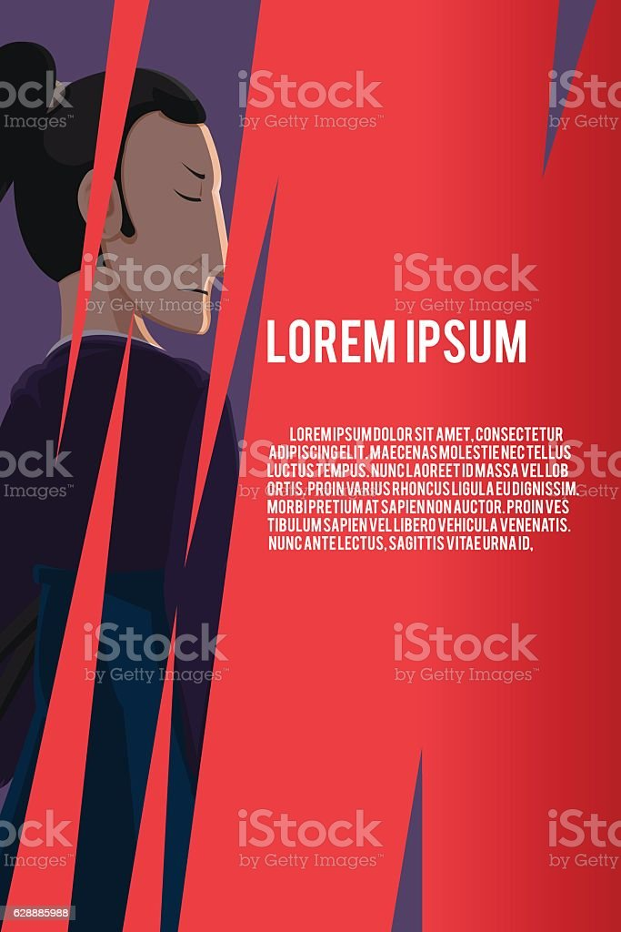 Japan Samurai Character Red Background Vector vector art illustration