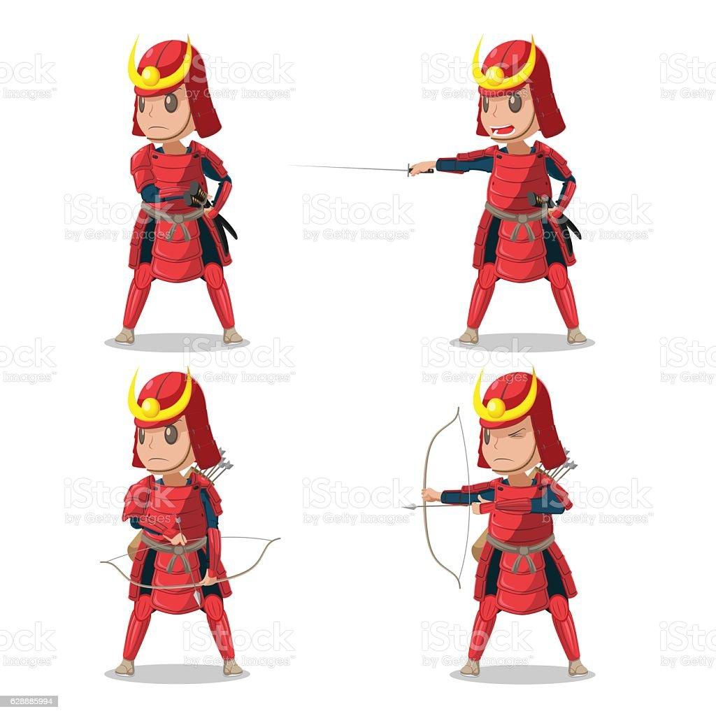 Japan Samurai Red Armor Character Vector vector art illustration