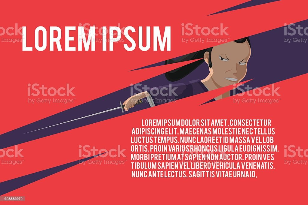 Japan Samurai Template Red Background Vector vector art illustration