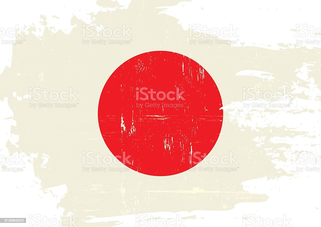 Japan scratched Flag vector art illustration