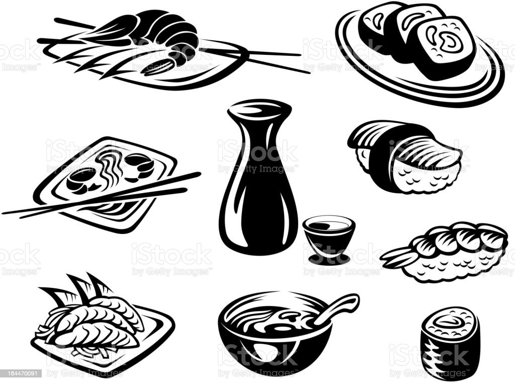 Japan seafood royalty-free stock vector art