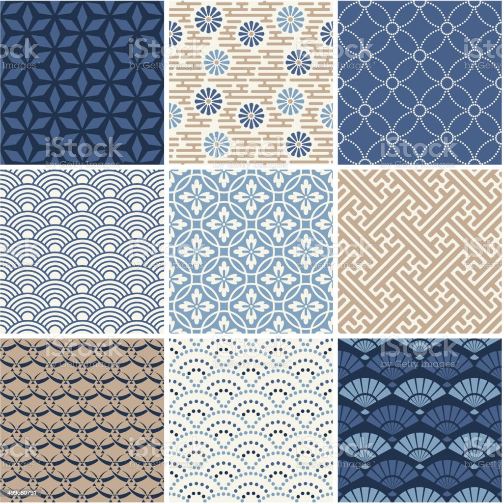 Japan seamless patterns set vector art illustration