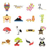 Japan set icons in cartoon style. Big collection of Japan