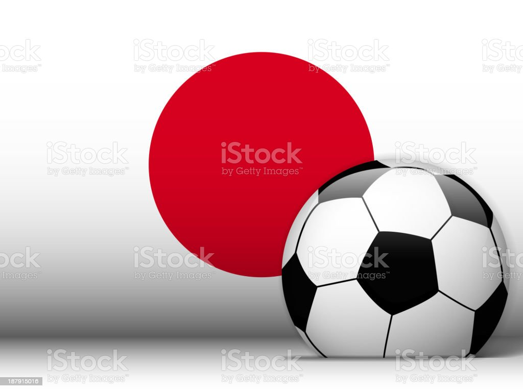 Japan Soccer Ball with Flag Background royalty-free stock vector art