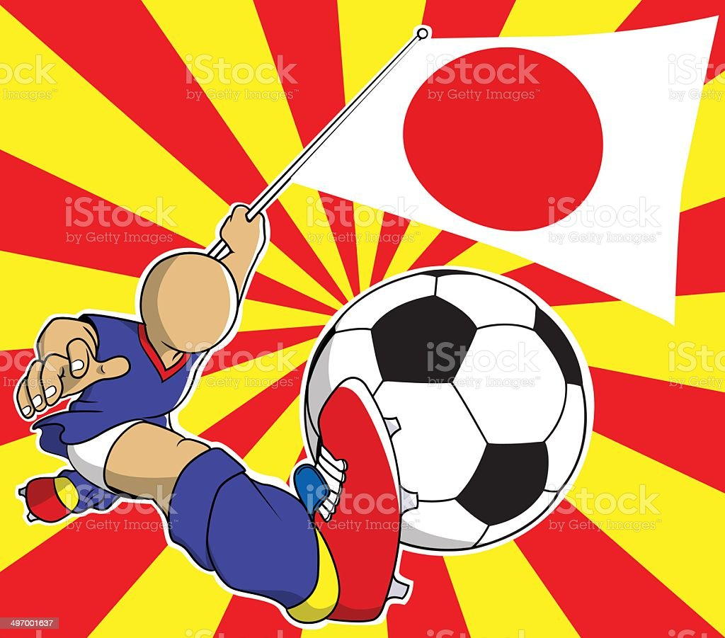 Japan soccer player vector cartoon royalty-free stock vector art