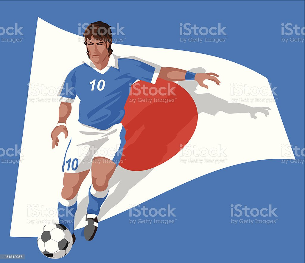 Japan soccer player royalty-free stock vector art