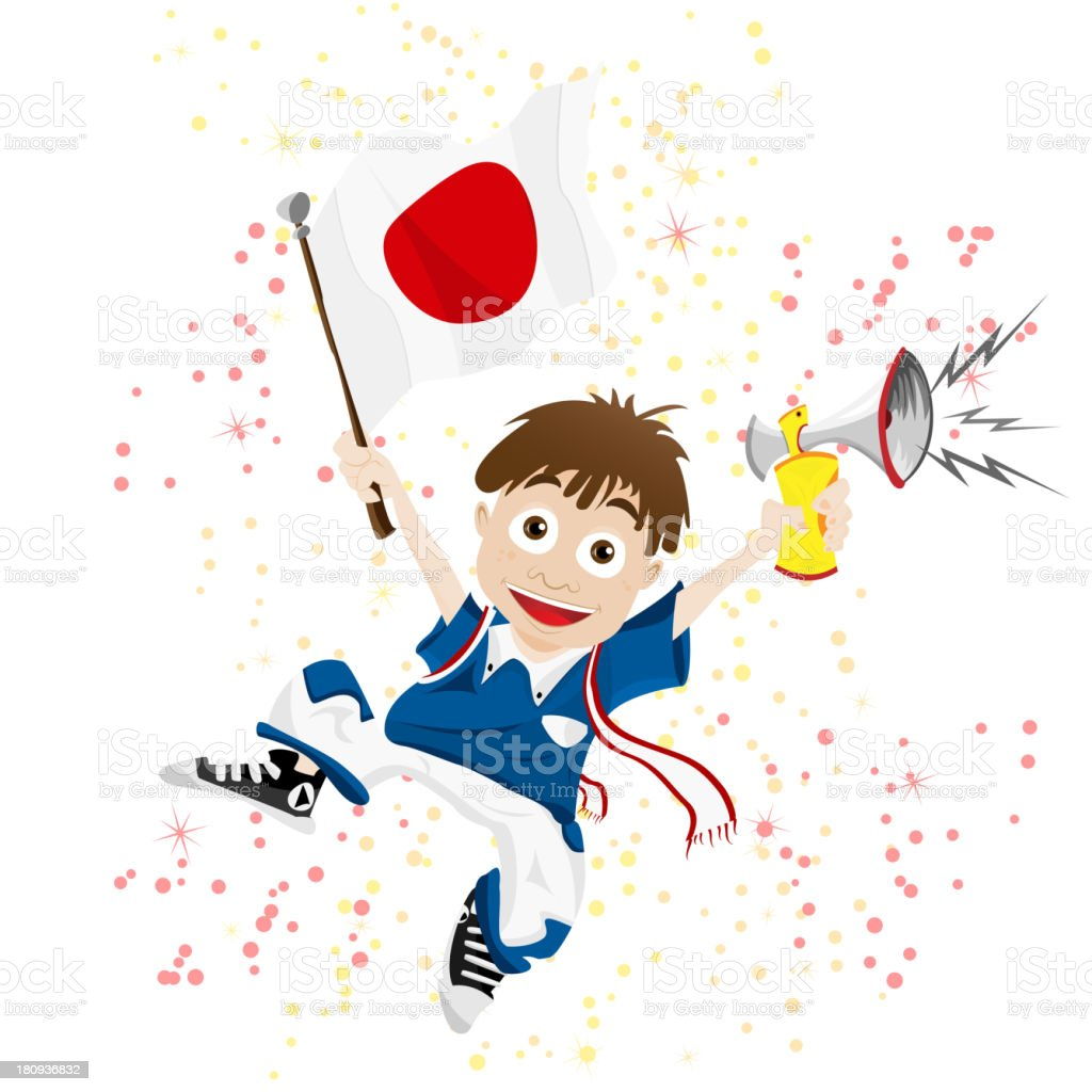 Japan Sport Fan with Flag and Horn royalty-free stock vector art