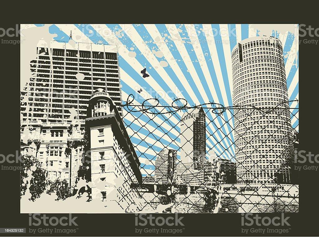 Japan Sun Retro City royalty-free stock vector art