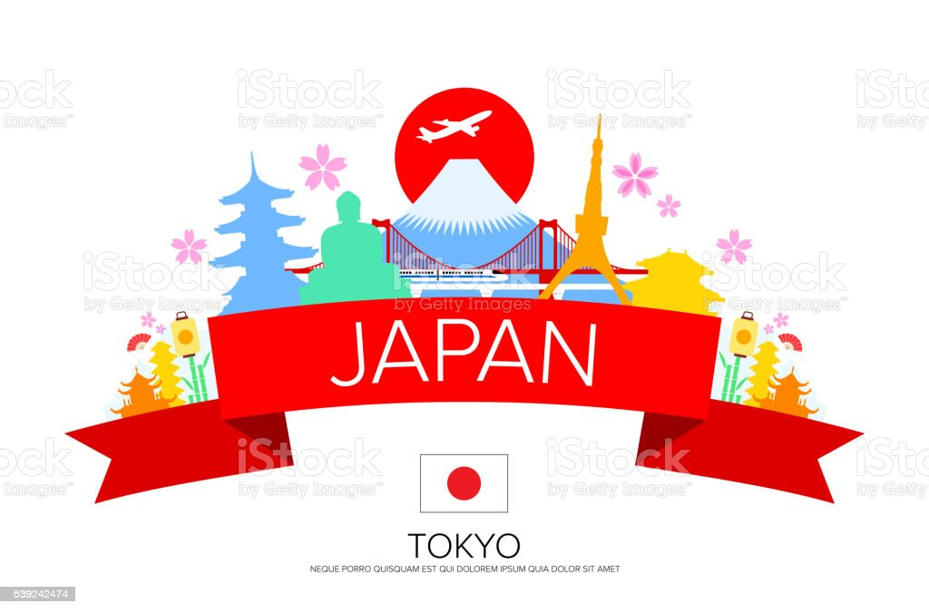 Japan Tokyo Travel, Landmarks. vector art illustration