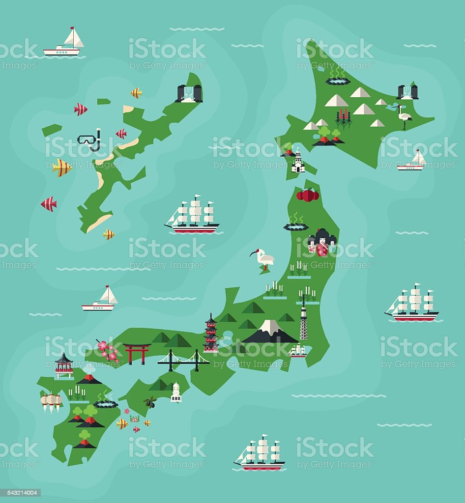 Japan Travel Map vector art illustration